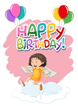 Angel on birthday template