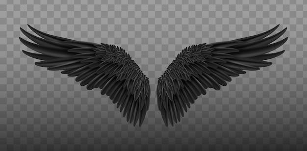 天使の黒い翼の鳥がリアルに飛ぶ。闇の翼。黒の孤立した天使のスタイルの翼のペア
