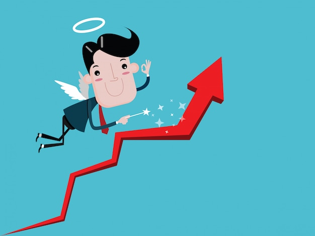 Angel businessman with wings holding a wand. make the graph grow. cartoon vector