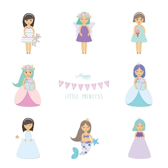 Angel cartoon characters set.