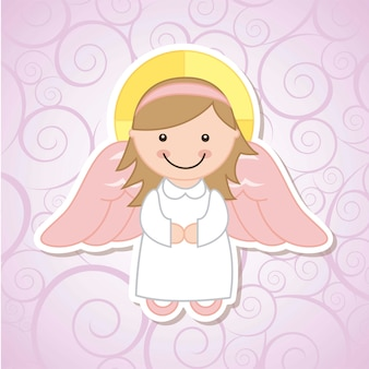Angel cartoon over violet background vector illustration