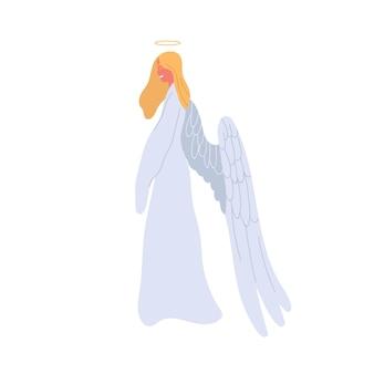 白いドレスの天使の漫画の女性ベクトルフラットイラスト。白い背景で隔離のハローと翼を持つ神話上の生き物の女性キャラクター。カラフルな神話の少女。