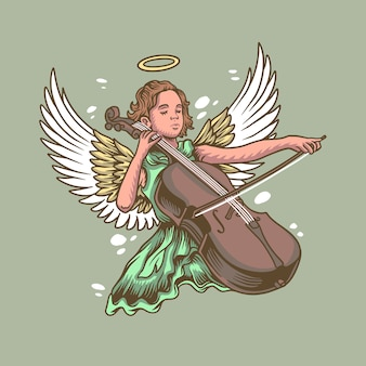 Angel child playing cello
