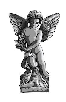 座っている天使の子供、かわいいキューピッドの男の子。ヴィンテージの彫刻スタイルの黒と白のモノクログラフィックイラスト。孤立。