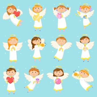 Angel children, boys and girls winter holiday