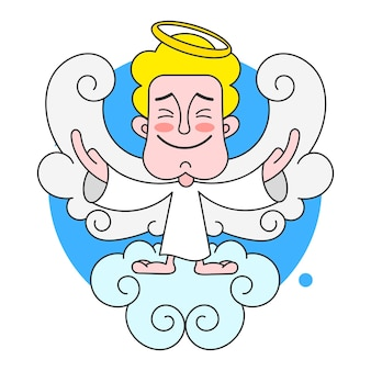 Angel on cloud with halo on head vector illustration on white background