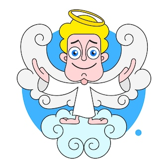 Angel on cloud with halo on head vector