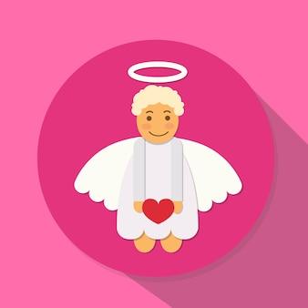 Angel cupid hold heart saint valentine holiday