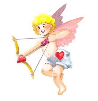 날개를 가진 천사 큐피드가 하트로 화살을 쏘다