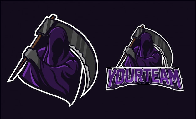 Angel of death holding scythe mascot logo design
