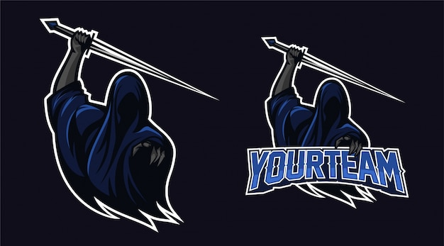 Angel of death holding sword with finger pointing mascot logo design