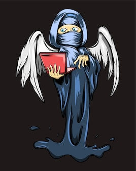 The angel of death is holding the laptop