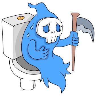 Angel of death sitting on the toilet closet feeling stomachache, vector illustration art. doodle icon image kawaii.