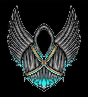 Angel of death with wings. premium vector