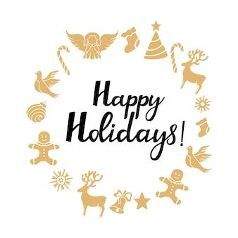 Ангел, олень, леденец, пряничный человечек, колокольчик, голубь. новогодние украшения. счастливых праздников рисованной надписи. открытка круглая рамка
