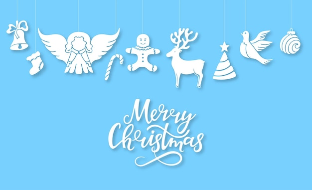 Angel, deer, lollipop, gingerbread man, bell, dove. new year s decorations in the style cut out of paper. merry christmas hand drawn lettering. horizontal congratulatory poster. greeting card.