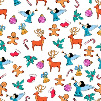 Angel, deer, mistletoe, bell. gingerbread man. christmas seamless pattern. design for the new year in doodle