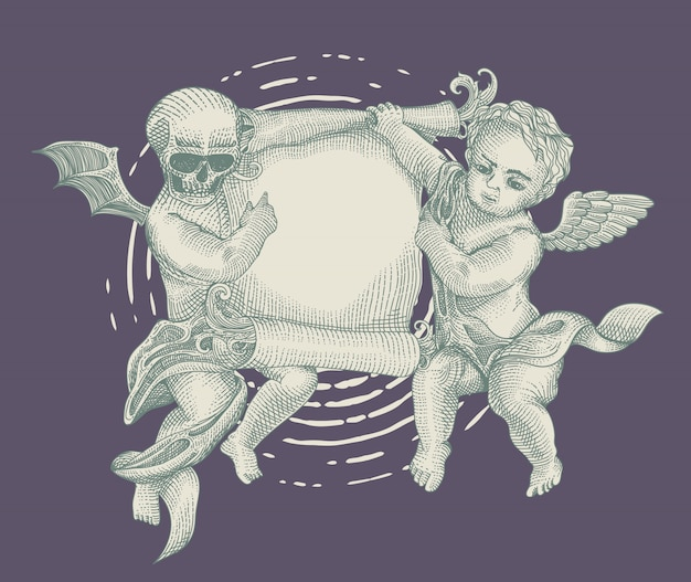 Angel and demon with vintage paper