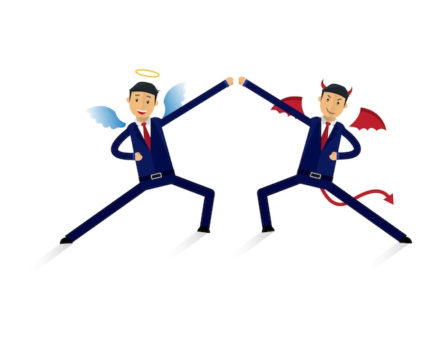 Angel and devil businessman office workers characters. good vs bad