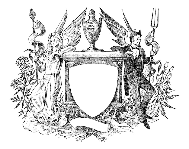 Angel and devil woman and man with wings decoration for the coats of arms medieval vintage heraldry