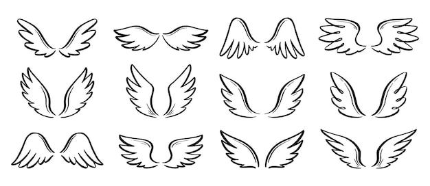 Набор крыльев каракули ангела. рука нарисованные эскиз стиль крыла. перо птицы, иллюстрация вектора концепции ангела. карандашный рисунок.