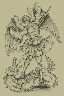 Angel and dragon engraving heraldry coat of arms