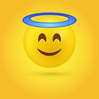 Angel emoji face with smiling eyes and halo