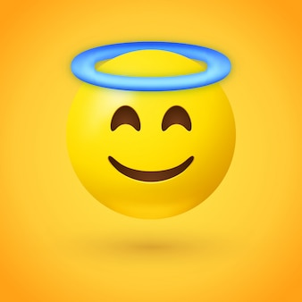 Angel emoji with blue halo overhead
