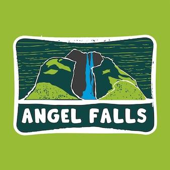 Angel falls stamp badge illustration with classic vintage design