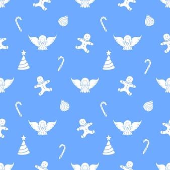 エンジェル、ジンジャーブレッドマン、ロリーポップ、クリスマスボール。新年のシームレスなパターン