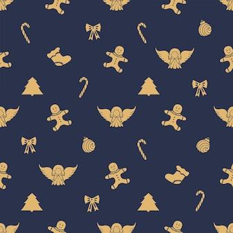 천사, 진저브레드맨, 사탕, 크리스마스 공. 새 해에 대 한 완벽 한 패턴입니다.