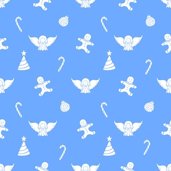 Angel, gingerbread man, lollypop, christmas ball. seamless pattern for the new year
