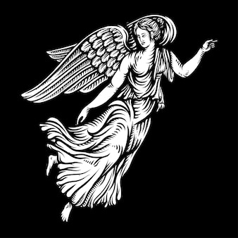 Angel in graphic style hand-drawn  illustration