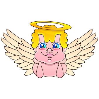 天使の手描きのベクトルイラスト現実的なスケッチストックイラストを背景に。デザイン、装飾、ロゴ用。
