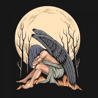 Angel illustration on dark background Premium Vector