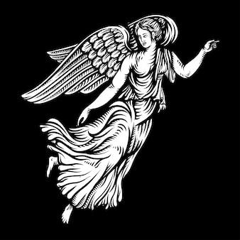 Ангел в графическом стиле рисованной иллюстрации