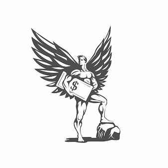Ангел логотип инвестора. бизнес ангел.