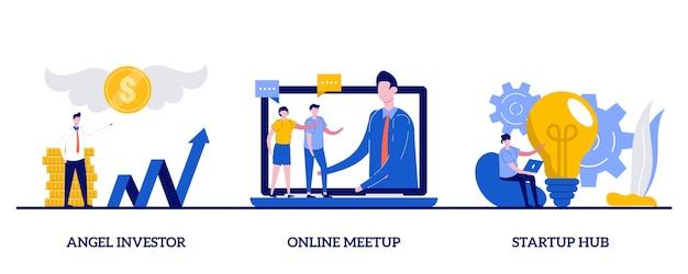Ангел-инвестор, онлайн-встреча, концепция стартап-хаба с крошечным характером