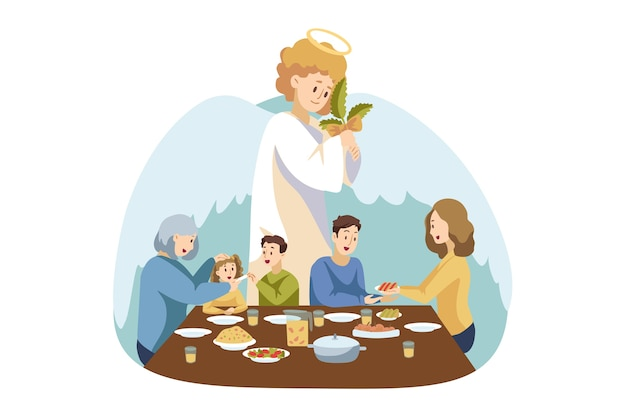 家族の夕食を見ている天使