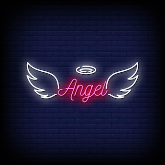 Angel neon signs style text