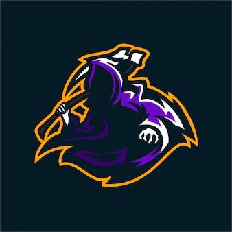 죽음의 천사 스포츠 게임 마스코트 로고 템플릿