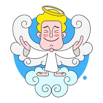 白い背景の上の頭のベクトル図にハローと雲の上の天使