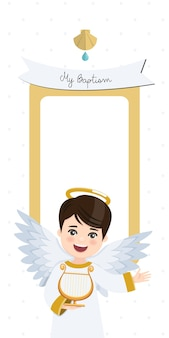 Ангел играет на арфе. вертикальное приглашение крещения с сообщением. квартира