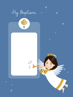 Angel playing the trumpet. my baptism invitation with message on blue sky and stars. flat vector illustration.ai