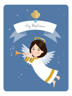 Angel playing the trumpet. my baptism reminder on blue sky and stars. flat vector illustration