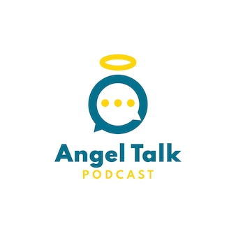 Ангел подкаст логотип с концепцией пузырь разговор игривый ангел значок
