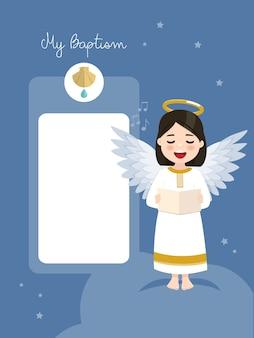 Ангел поет. приглашение на крещение с сообщением на фоне голубого неба и звезд. плоский рисунок