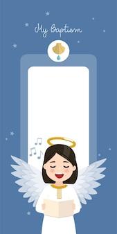 Ангел поет. вертикальное приглашение крещения на голубое небо и приглашение звезд. плоский рисунок