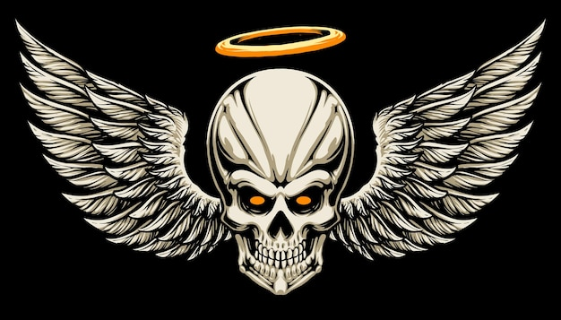 Angel skull head illustration design