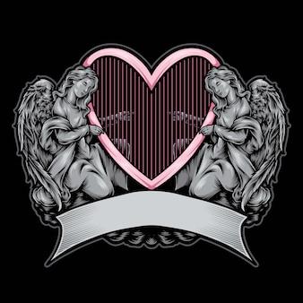 Angel statue  logo illustration